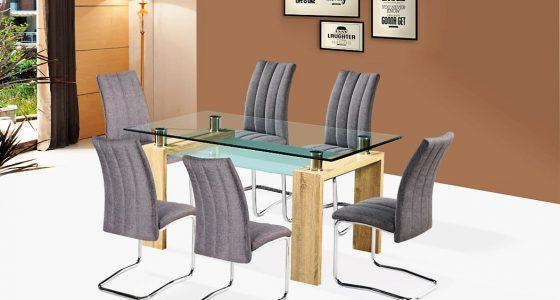 diana sonoma tölgy színű étkezőasztal, lazio szürke szövet szék